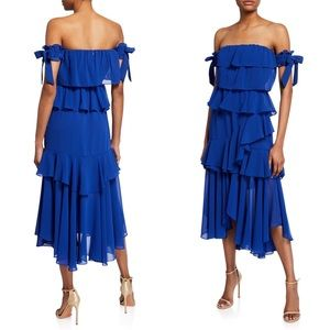 MISA Isidora Blue Ruffle Tiered Off Shoulder Dress